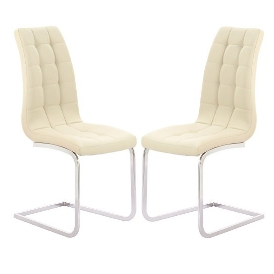 Well Known Cream Leather Dining Chairs For Torres Dining Chair In Cream Faux Leather With Chrome Legs (View 18 of 20)