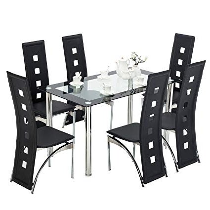 Well Known Dining Tables With 6 Chairs Regarding Amazon – Mecor 7 Piece Kitchen Dining Set, Glass Top Table With (View 19 of 20)