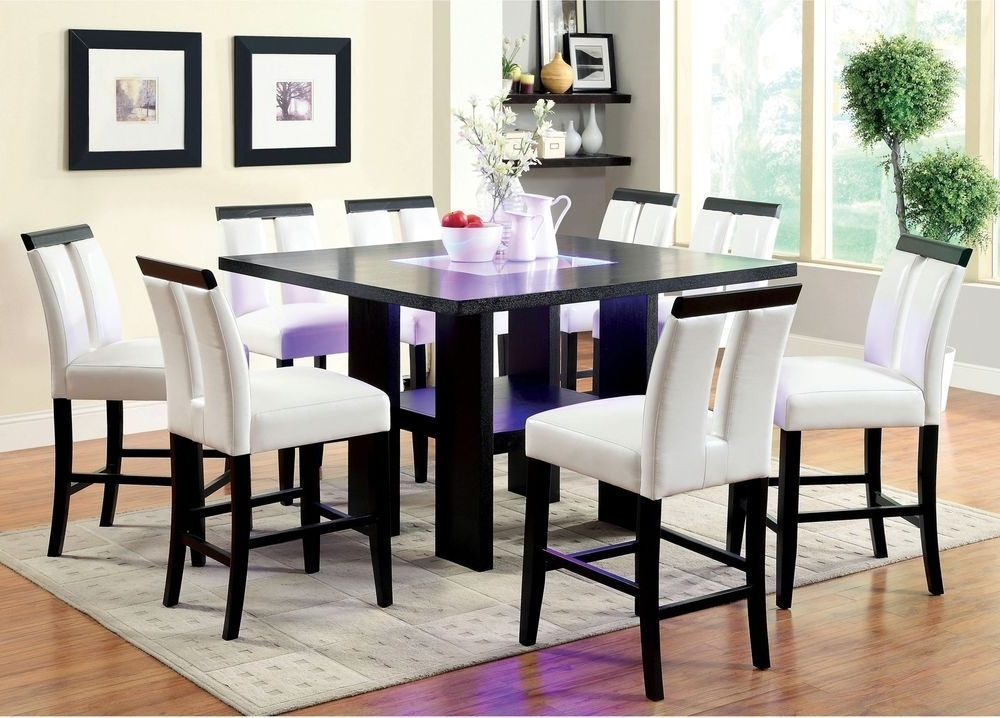 Well Known Dining Tables With Led Lights Throughout Dining Room Table Square Counter Height Led Lights Tabletop Dark (View 5 of 20)