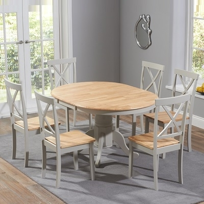 Well Known Elson Round Oak And Grey 6 Seater Extending Dining Set With Round Oak Extendable Dining Tables And Chairs (View 19 of 20)
