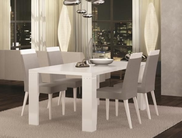 Well Known Exquisite Diamond Fixed Or Extending White High Gloss Dining Table With Regard To High Gloss Dining Room Furniture (View 20 of 20)