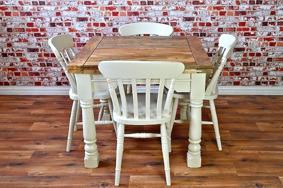 Well Known Extending Rustic Farmhouse Dining Table Set – Drop Leaf Painted In In Drop Leaf Extendable Dining Tables (View 4 of 20)