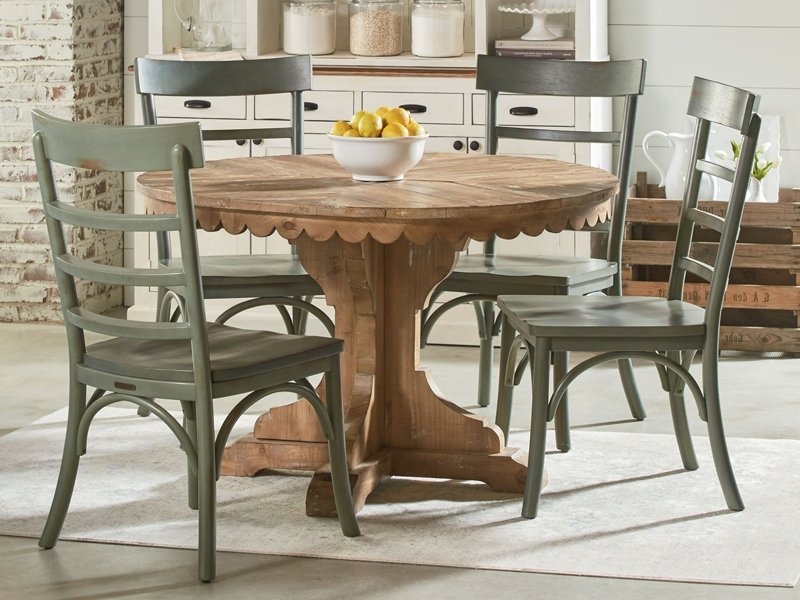 Well Known Farmhouse Top Tier Round Pedestal Tablemagnolia Home For Magnolia Home Double Pedestal Dining Tables (View 20 of 20)
