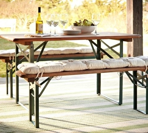 Well Known Folding Outdoor Dining Tables Inside Outdoor Dining Table With Bench Gallery (View 13 of 20)