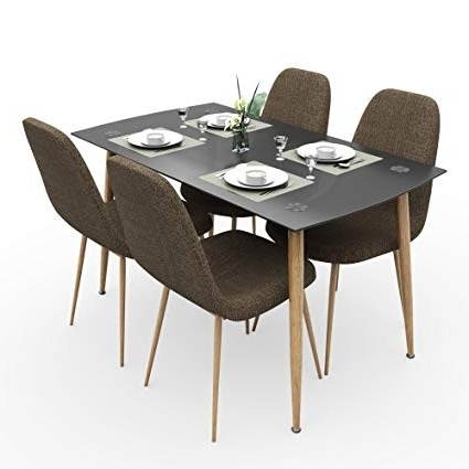 Well Known Forzza Logan Four Seater Dining Table Set (beige): Amazon (View 5 of 20)
