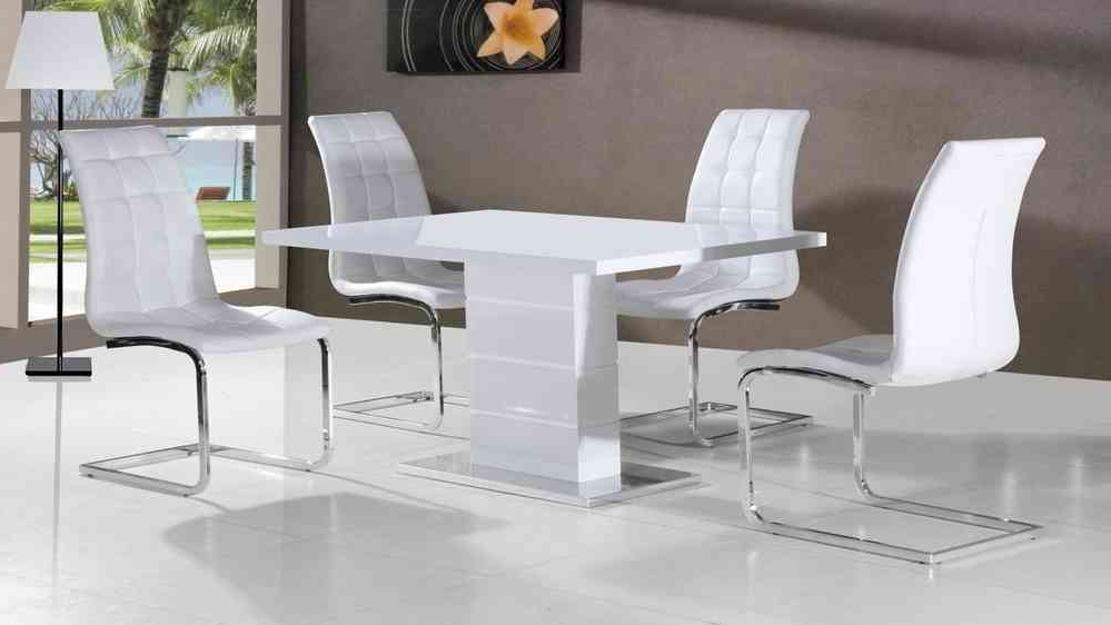 Well Known Full White High Gloss Dining Table And 4 Chairs – Homegenies Throughout Cheap White High Gloss Dining Tables (View 19 of 20)