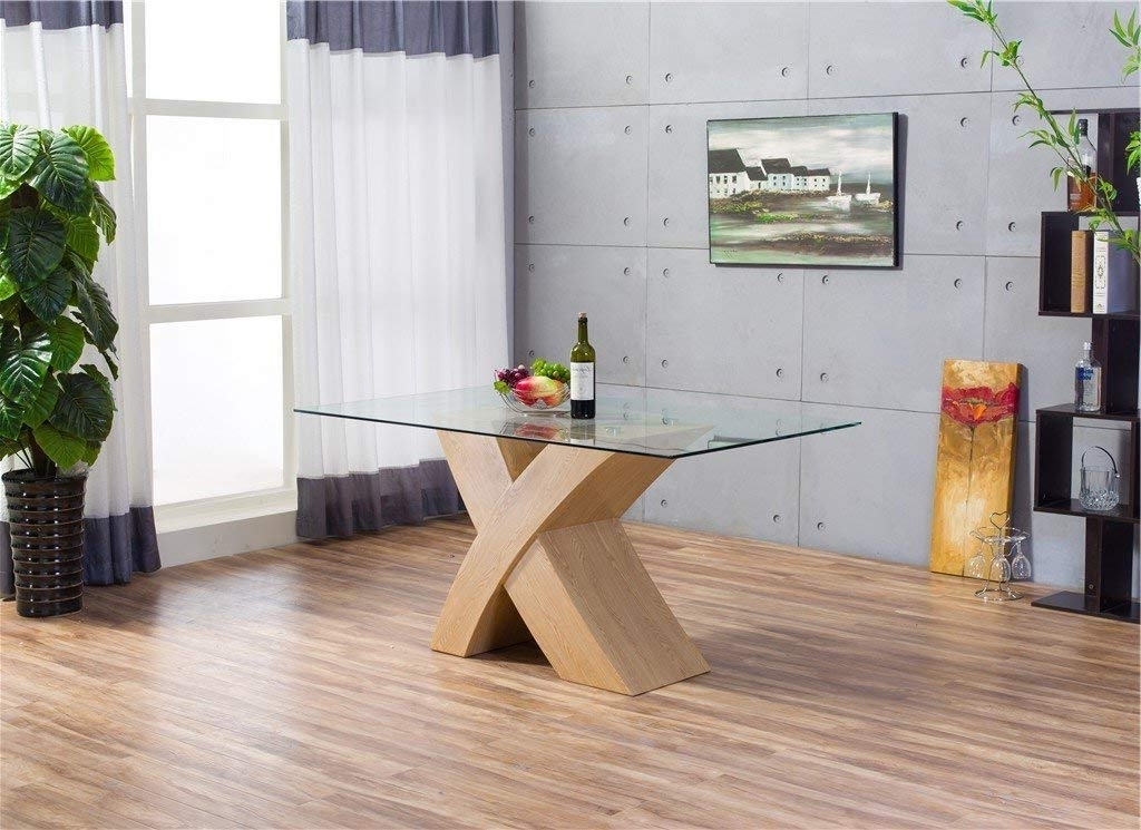 Well Known Furnitureboxuk® Milano X Oak Effect Glass Dining Table Set 6 Chairs Intended For Oak And Glass Dining Tables Sets (View 5 of 20)