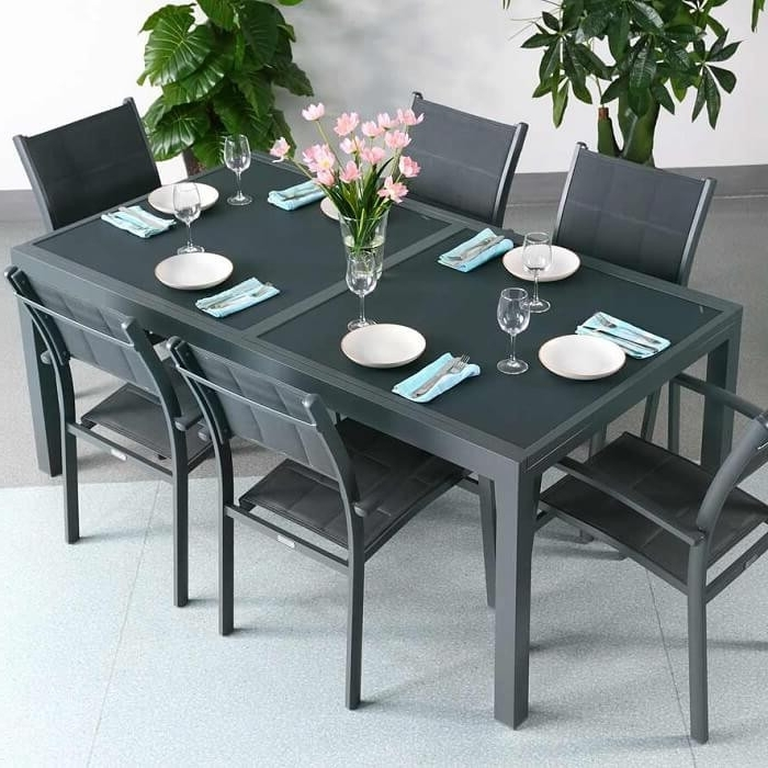 Well Known Garden Table Set Florence Grey – 6 Person Aluminium & Glass In Extending Outdoor Dining Tables (View 20 of 20)