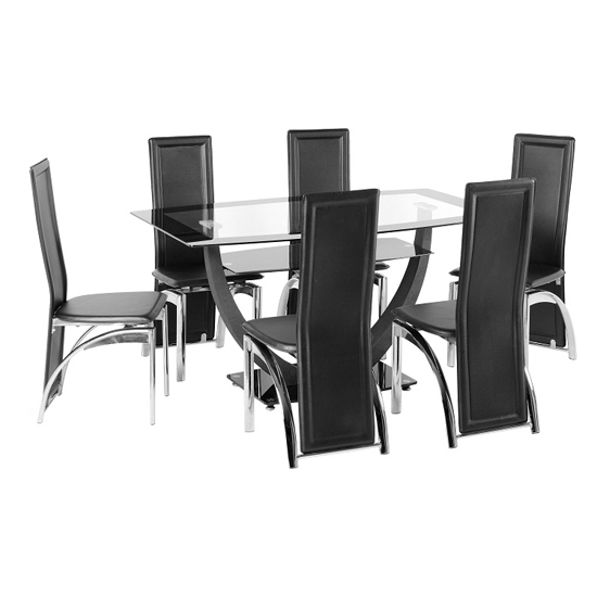 Well Known Glass 6 Seater Dining Tables In Carlson Glass Dining Table And 6 Chairs 18502 Furniture In (View 17 of 20)