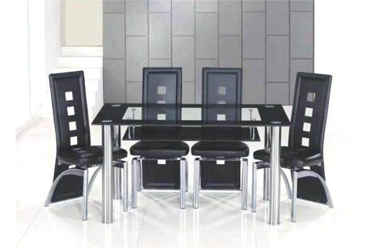Well Known Glass Dining Table And 6 Chairs To 8 Extendable Top Throughout Sets Pertaining To Glass Dining Tables With 6 Chairs (View 5 of 20)