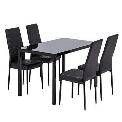 Well Known Glass Dining Tables And Leather Chairs Pertaining To Amazon – Mecor Glass Dining Table Set, 5 Piece Kitchen Table Set (View 20 of 20)