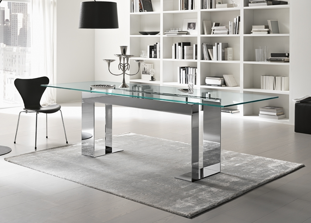 Well Known Glass Dining Tables Pertaining To Tonelli Miles Glass & Chrome Dining Table (View 20 of 20)