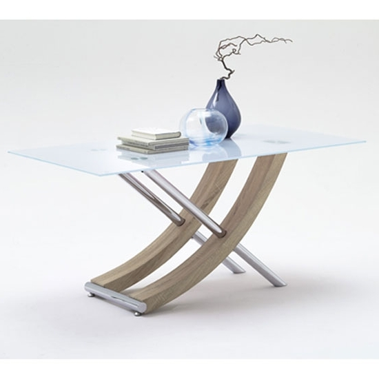 Well Known Glass Dining Tables With Oak Legs Pertaining To Samova Glass Dining Table In Rough Sawn Oak And Chrome Legs (View 19 of 20)