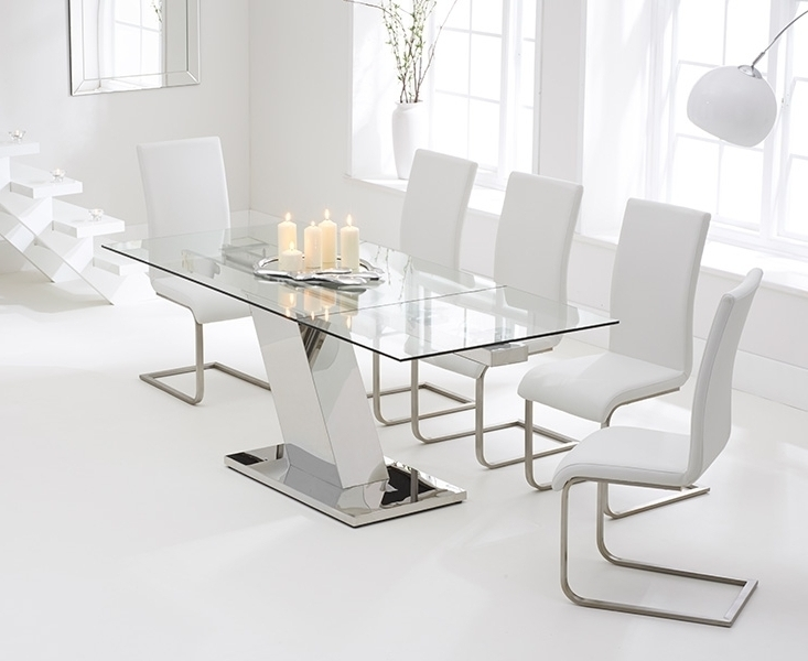Well Known Glass Extendable Dining Tables And 6 Chairs Inside Contemporary Furniture Boston Extendable Dining Set (View 17 of 20)