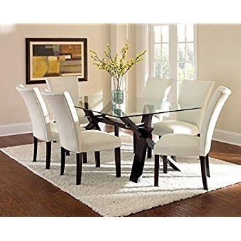 Well Known Glasses Dining Tables With Amazon – Steve Silver Company Berkley Glass Top Dining Table,  (View 19 of 20)