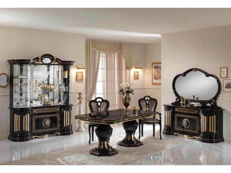 Well Known Gloss Dining Tables Sets Inside Gold & Black Italian High Gloss Dining Table & Chairs  Homegenies (View 19 of 20)