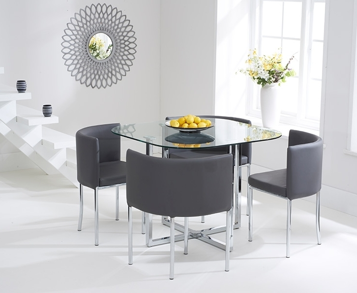 Well Known Grey Glass Dining Tables Inside Ascot Stowaway Glass Dining Set With 4 Grey Chairs (View 18 of 20)