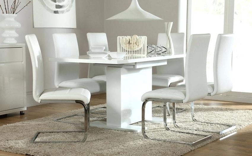 Well Known High Gloss Dining Table Sets White High Gloss Extending Dining Table Regarding Extending Dining Tables With 6 Chairs (View 17 of 20)