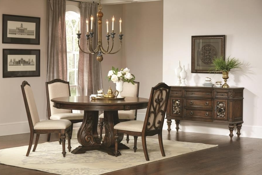 Well Known Ilana Traditional Antique Java Round Formal Five Piece Dining Table With Regard To Java Dining Tables (View 20 of 20)