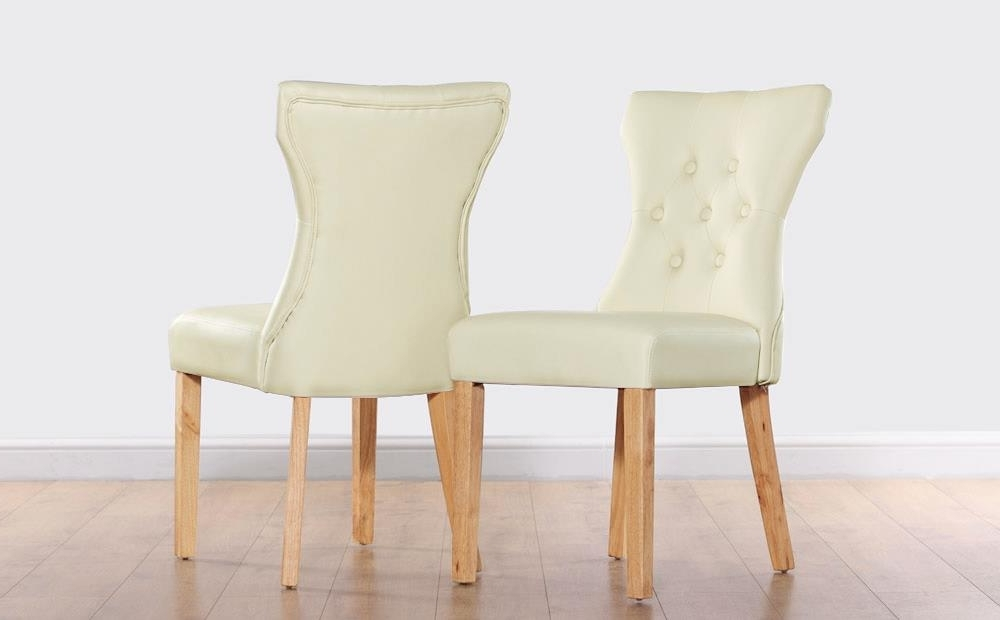 Well Known Ivory Leather Dining Chairs With Regard To Bewley Ivory Leather Button Back Dining Chair (Oak Leg) Only £ (View 20 of 20)