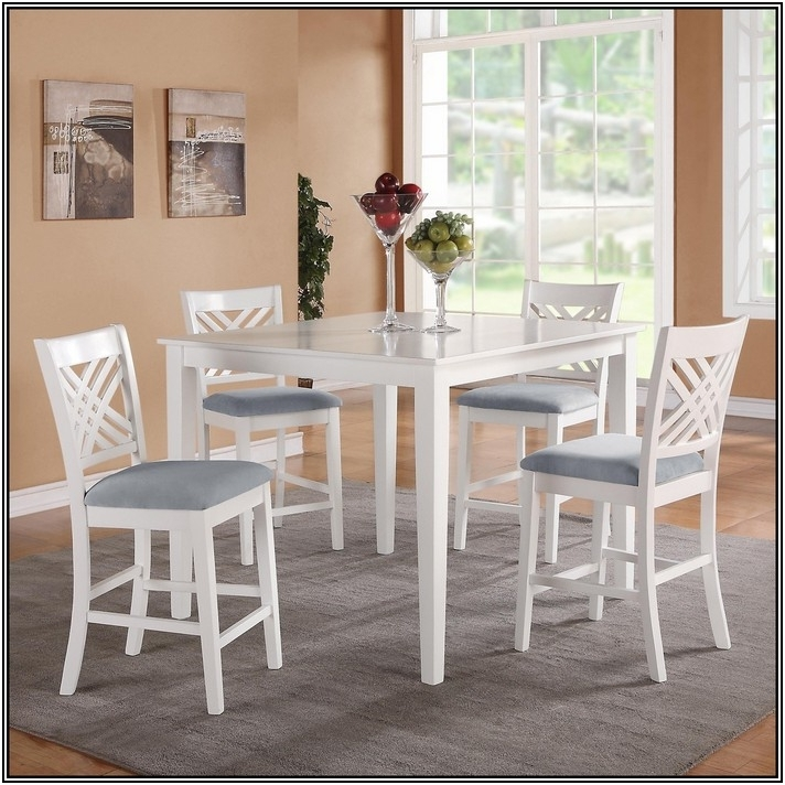 Well Known Jaxon Grey 5 Piece Extension Counter Sets With Wood Stools With Regard To Counter Height Dining Table Sets White (View 19 of 20)