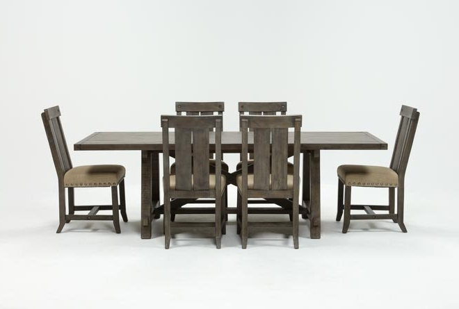 Featured Photo of Jaxon Grey 7 Piece Rectangle Extension Dining Sets With Uph Chairs