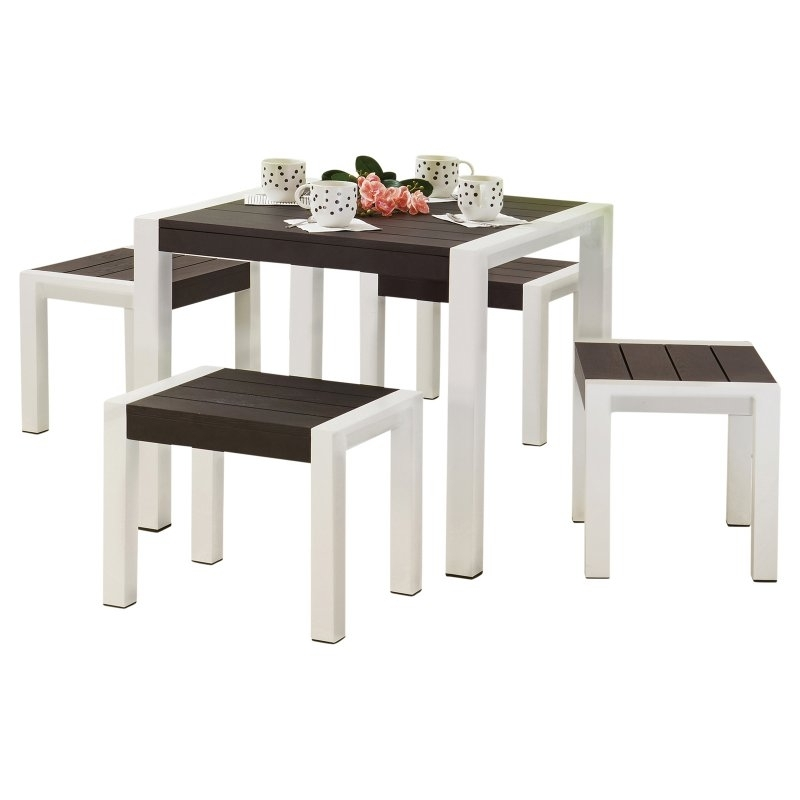 Well Known Kirsten 5 Piece Dining Sets Within Woodard Dice Aluminum 5 Piece Small Space Patio Dining Set In (View 17 of 20)