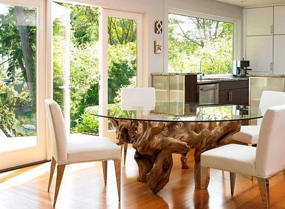 Well Known Kitchen Dining Tables: Oak Root Leg Round Glass Dining Table Small With Round Glass Dining Tables With Oak Legs (View 19 of 20)