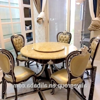 Well Known Luxury Solid Wooden Round Dining Table With Rotating Centre Marble With Regard To Solid Marble Dining Tables (View 17 of 20)