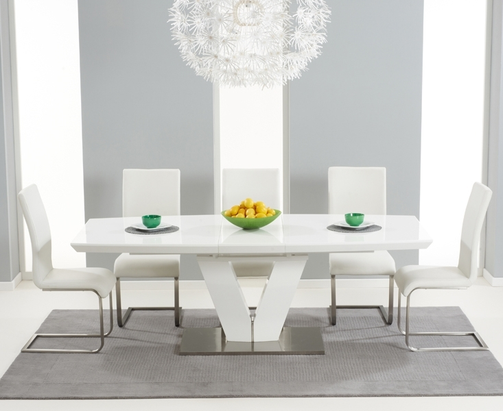 Well Known Malaga 180Cm White High Gloss Extending Dining Table With Malaga Chairs With Regard To Black Extendable Dining Tables Sets (View 10 of 20)