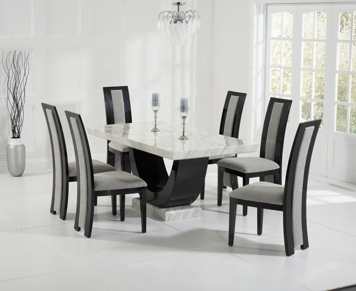 Well Known Marble Effect Dining Tables And Chairs Throughout Raphael 170Cm Cream And Black Pedestal Marble Dining Table With (View 4 of 20)