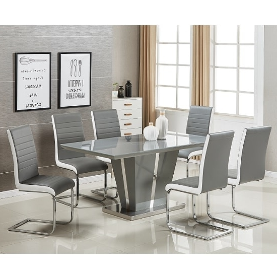 Well Known Memphis Glass Dining Table In Grey Gloss And 6 Symphony Intended For Grey Gloss Dining Tables (View 16 of 20)