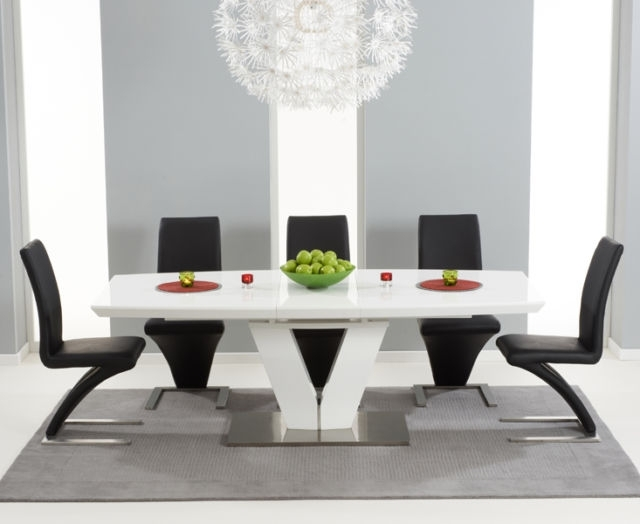 Well Known Miami 180Cm Extending High Gloss White Dining Table & 8 Black Z Intended For High Gloss White Dining Chairs (View 14 of 20)