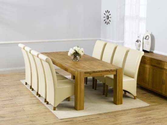 Well Known Oak Dining Tables And Leather Chairs Inside Madrid 300Cm Solid Oak Extending Dining Table + 8 Barcelona Leather (View 14 of 20)
