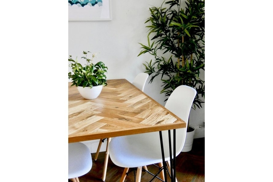 Well Known Parquet 6 Piece Dining Sets In Solid Oak Parquet Dining Table (4 Seater) Herringbone Mid Century (View 16 of 20)