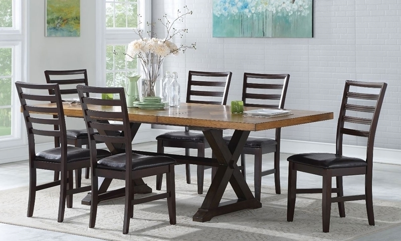 Well Known Parquet 6 Piece Dining Sets Pertaining To 7 Piece Two Tone Farmhouse Dining Set (View 17 of 20)