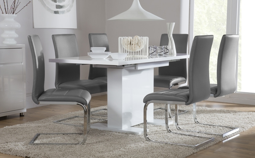 Well Known Perth White Dining Chairs With Osaka White High Gloss Extending Dining Table And 6 Chairs, White (View 20 of 20)