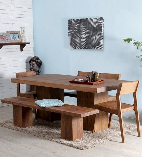 Well Known Portland 78 Inch Dining Tables In Portland Solid Wood Six Seater Dining Set In Premium Acacia Finish (View 18 of 20)