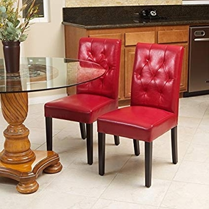 Well Known Red Leather Dining Chairs With Regard To Amazon – Great Deal Furniture 213819 Waldon Red Leather Dining (View 19 of 20)