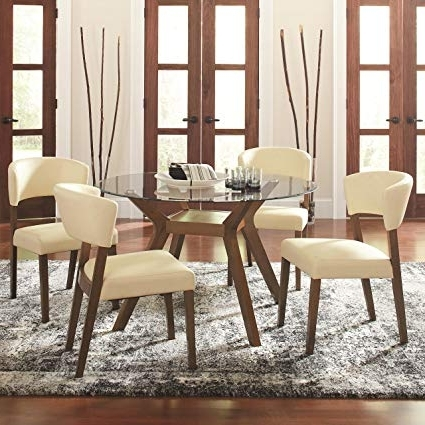 Well Known Retro Glass Dining Tables And Chairs Within Amazon – Coaster Paxton Retro Glass Five Piece Dining Table Set (View 19 of 20)