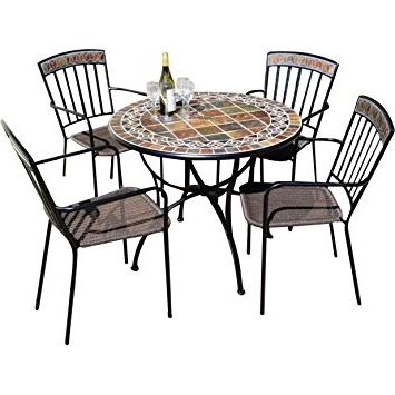 Well Known Rustic Style 4 Seater Garden Dining Set – Features Resin Weaver Set With Weaver Ii Dining Tables (View 12 of 20)
