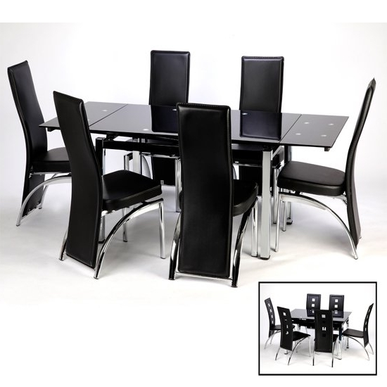 Well Known Sarah Extending Dining Table And Chairs In Black 15394 Pertaining To Extending Black Dining Tables (View 19 of 20)