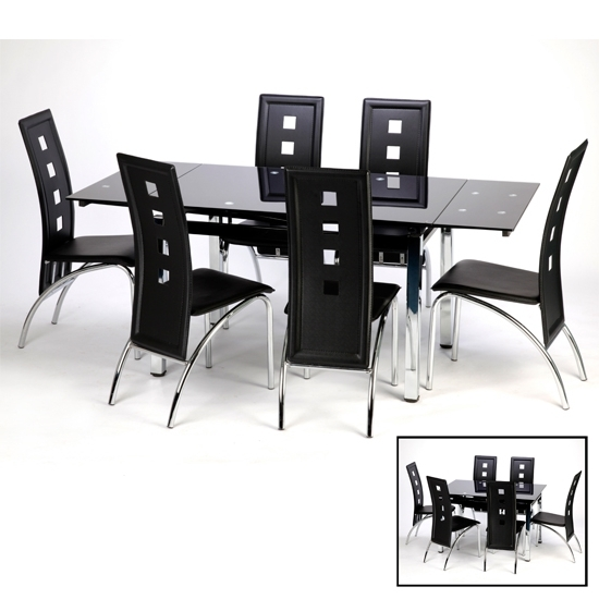 Well Known Sarah Glass Extendable Dining Table In Black With Chrome Intended For Black Extendable Dining Tables Sets (View 12 of 20)