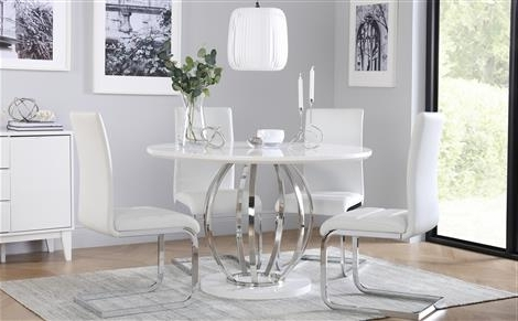 Well Known Savoy Round White High Gloss And Chrome Dining Table With 4 Perth Pertaining To High Gloss Round Dining Tables (View 5 of 20)