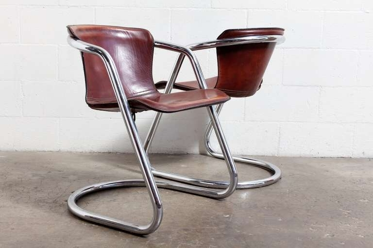 Well Known Set Of 4 Leather And Chrome Dining Chairs At 1Stdibs Top Grain Within Chrome Leather Dining Chairs (View 13 of 20)