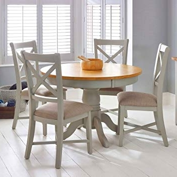 Well Known Shabby Chic Extendable Dining Tables Regarding Round Extendable Dining Table Shabby Chic Wood Chairs Set Rustic (View 10 of 20)