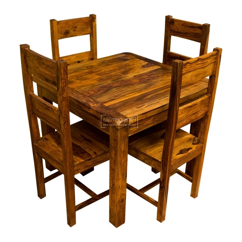 Well Known Sheesham Dining Tables And Chairs In Samri Sheesham Square Dining Table & Four Chairs – Solid Sheesham (View 17 of 20)