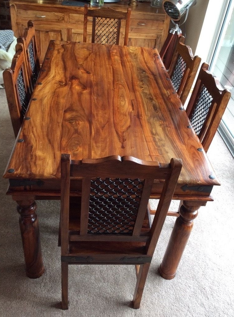 Well Known Sheesham Jali Solid Wood Dining Table & 6 Chairs (View 18 of 20)