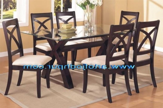 Well Known Sheesham Wood Glass Top Dining Set – Used Dining Table For Sale In For Glass Dining Tables Sets (View 19 of 20)