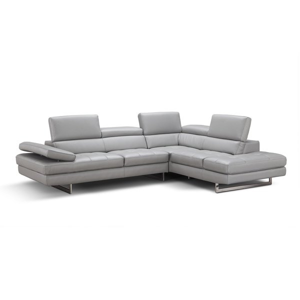 Well Known Shop Aurora Italian Leather Sectional Light Grey In Left Hand Facing Regarding Aurora 2 Piece Sectionals (View 13 of 15)